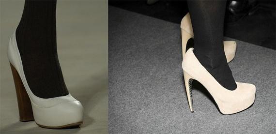 Светлые туфли с темными колготками